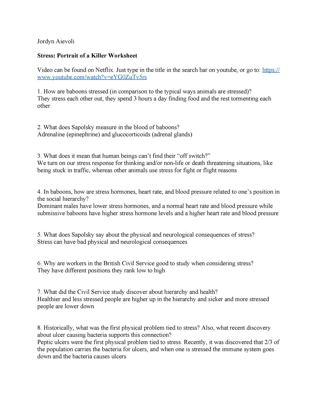 Stress Portrait Of A Killer Worksheet  Psyc 465 Health Psychology With Stress Portrait Of A Killer Worksheet
