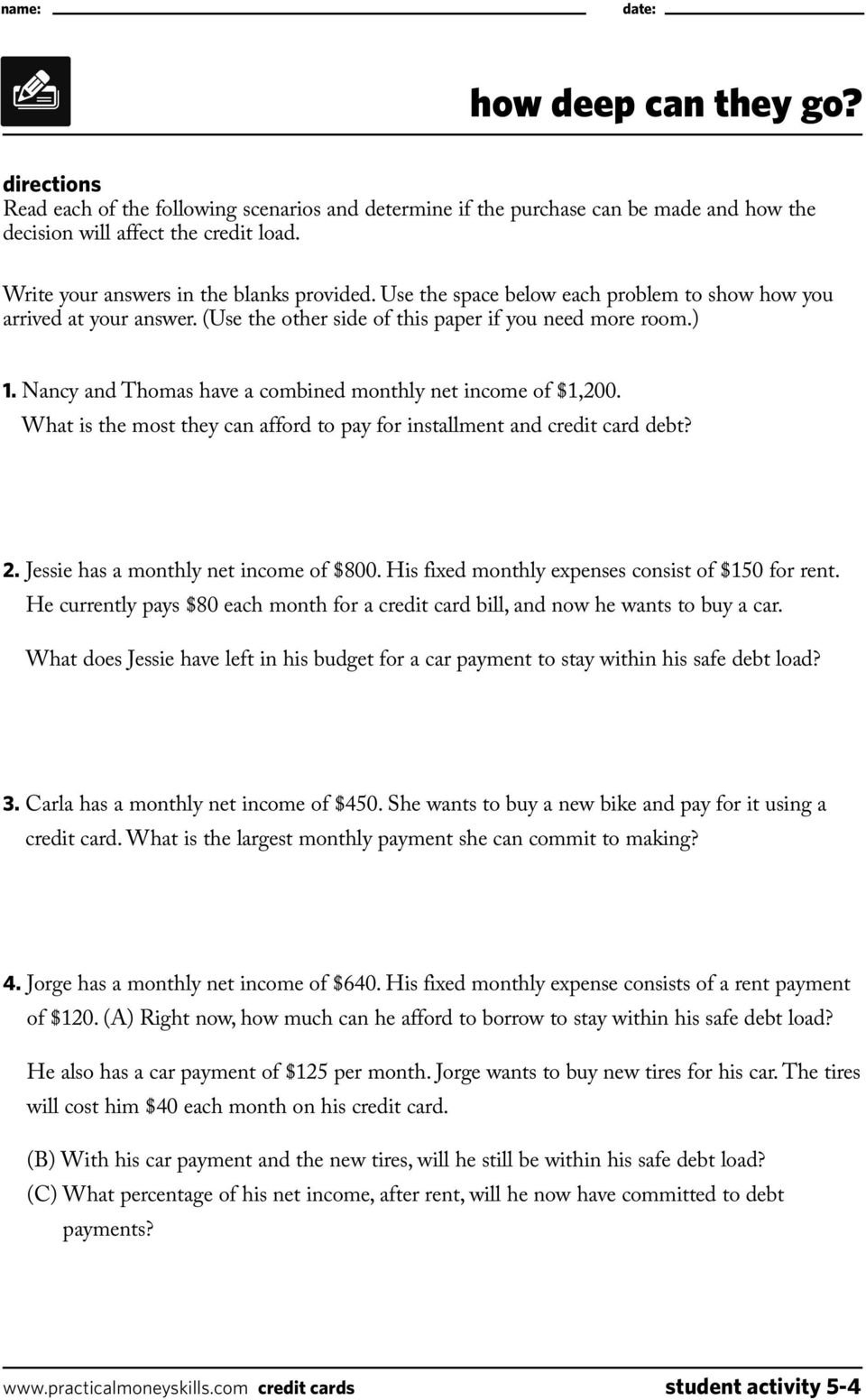 Student Activities Lesson Five Credit Cards 0409  Pdf Also Shopping For Credit Worksheet Answer Key