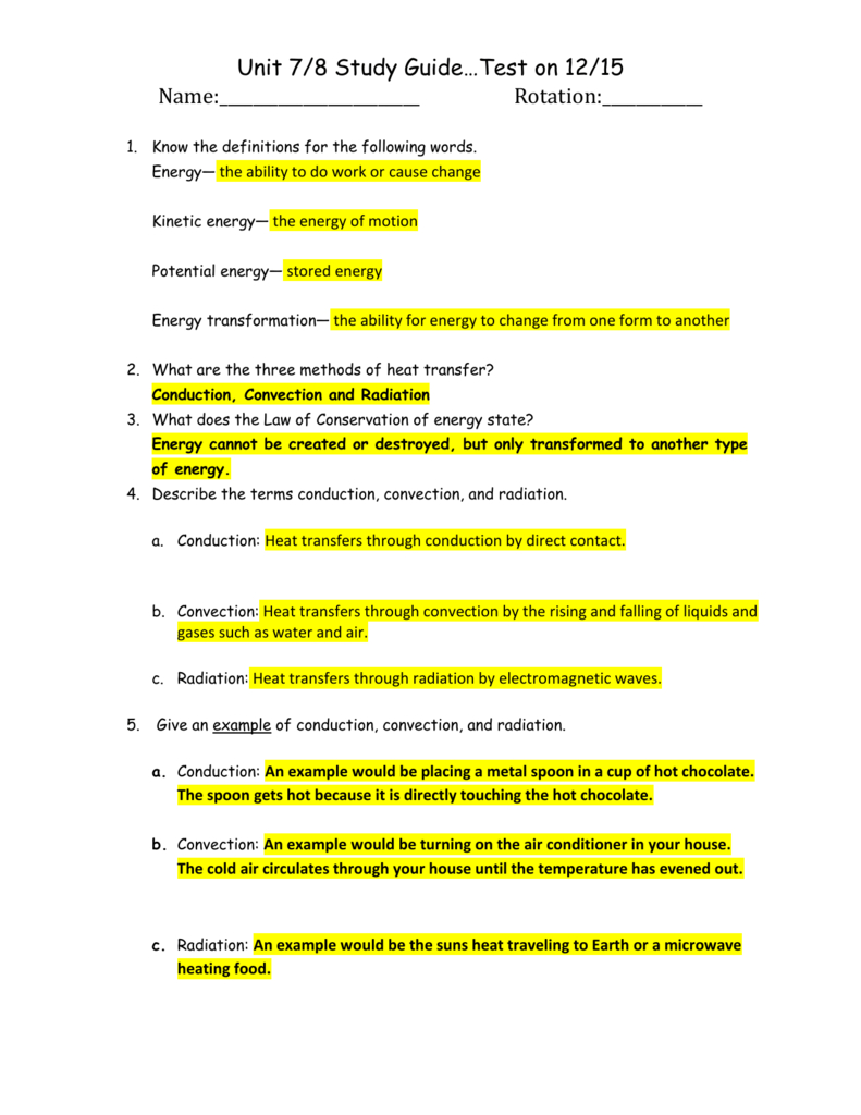 Study Guide Answer Key For Unit 7  8 And Energy Worksheet 2 Conduction Convection And Radiation Answer Key