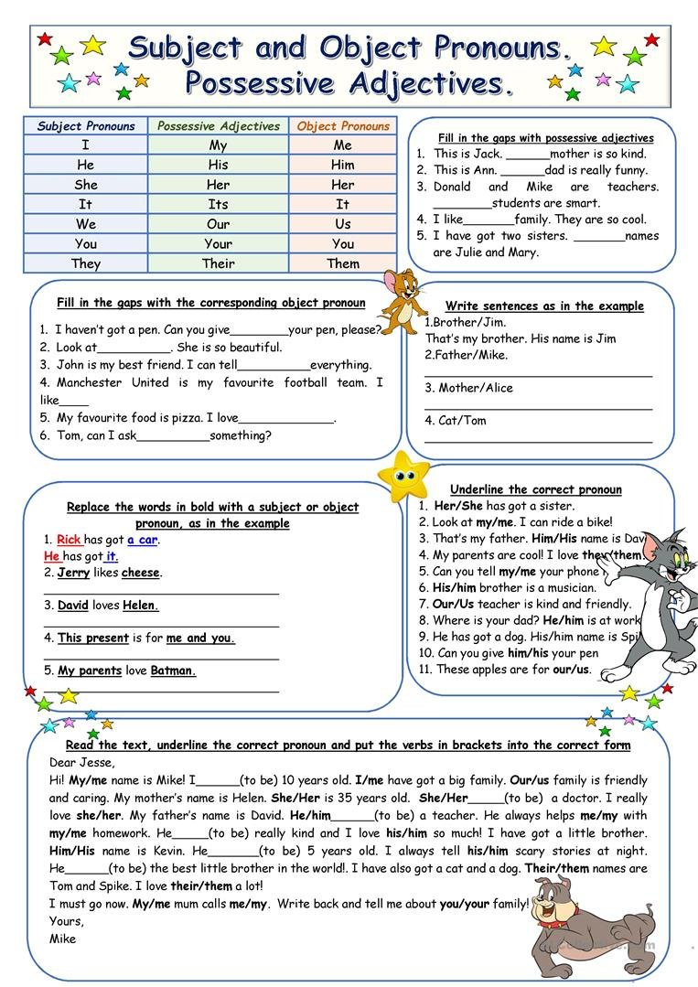 Subject And Object Pronouns Possessive Adjectives Worksheet  Free Throughout Subject Pronouns In Spanish Worksheet Answers
