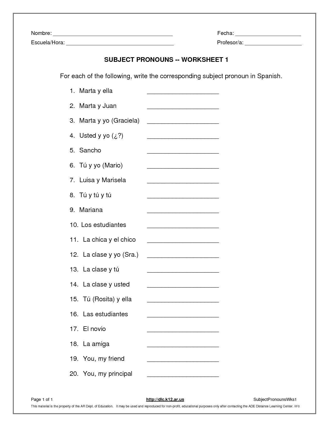 Subject And Object Pronouns Worksheet Subject Pronouns Worksheet 1 Inside Subject Pronouns In Spanish Worksheet Answers