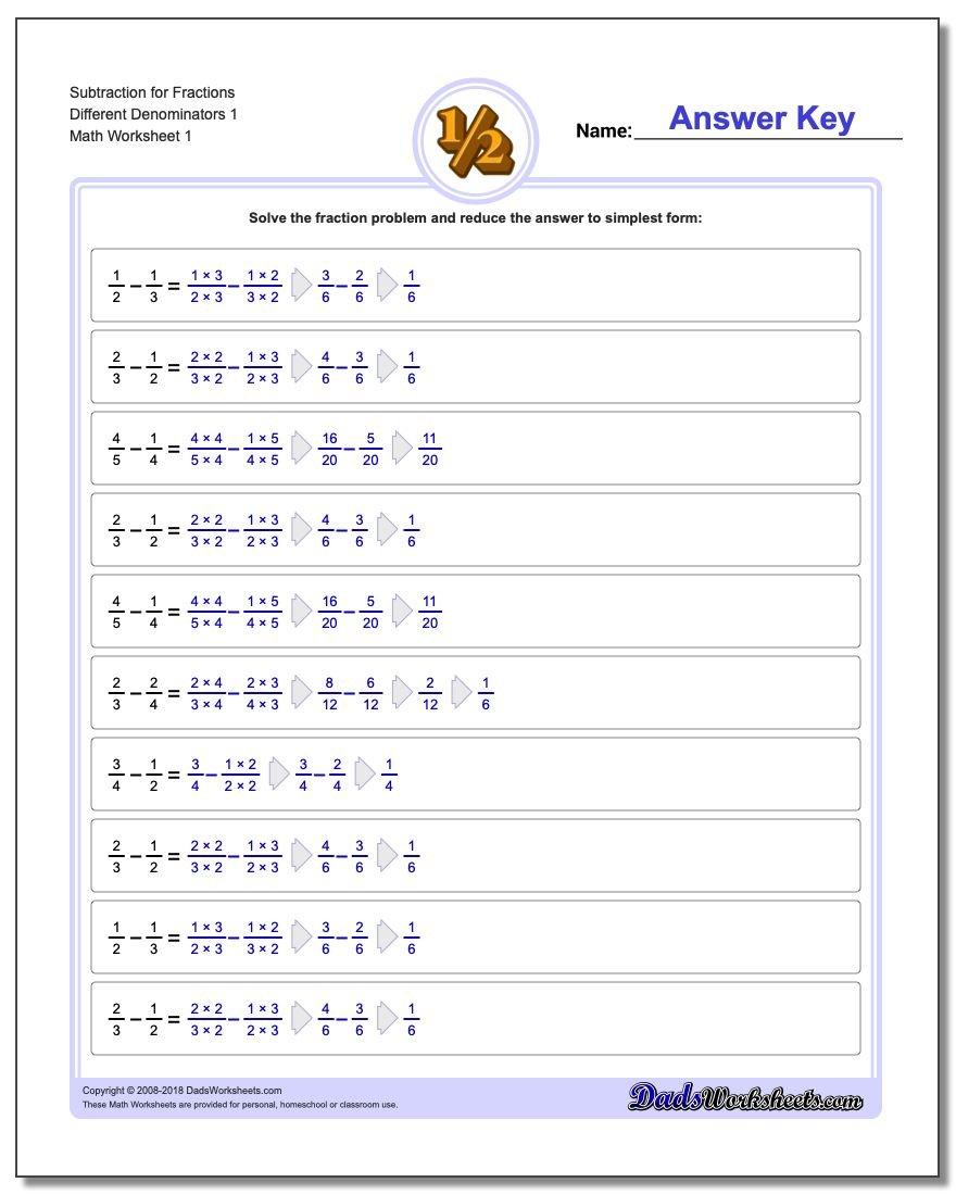 Subtracting Fractions With Unlike Denominators Or Subtracting Fractions With Unlike Denominators Worksheet