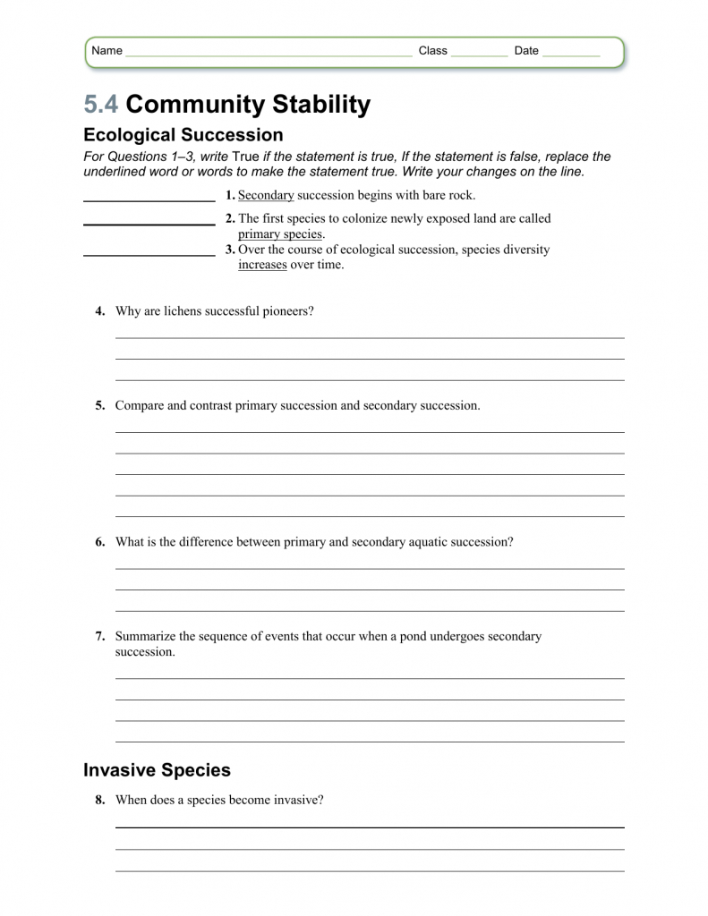 Succession Worksheet Answers Ecological Ecology Biology Article Khan As Well As Ecological Succession Worksheet