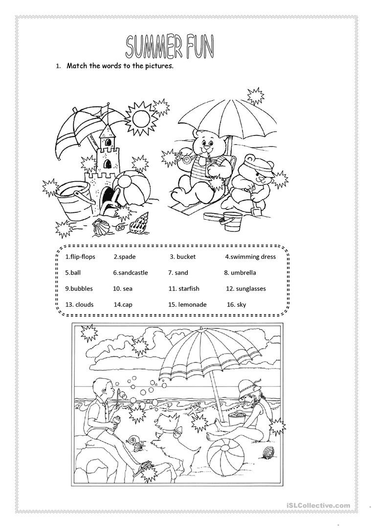 Summer Fun Worksheet  Free Esl Printable Worksheets Madeteachers For Fun Summer Worksheets For 4Th Grade