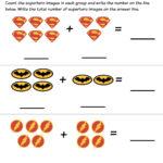 Superhero Math Kindergarten Addition Worksheet Printables Within Free Printable Math Addition Worksheets For Kindergarten