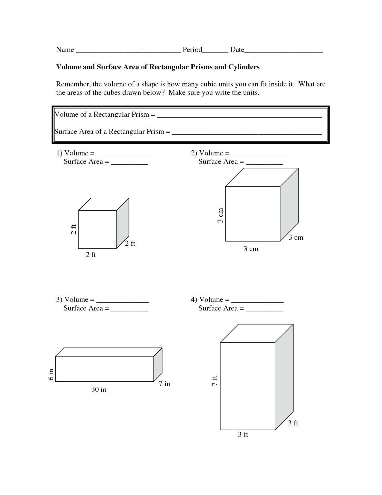 Surface Area Net Worksheet Fantastic Prisms And Pyramids Worksheets Regarding Volume Of A Cylinder Worksheet Pdf