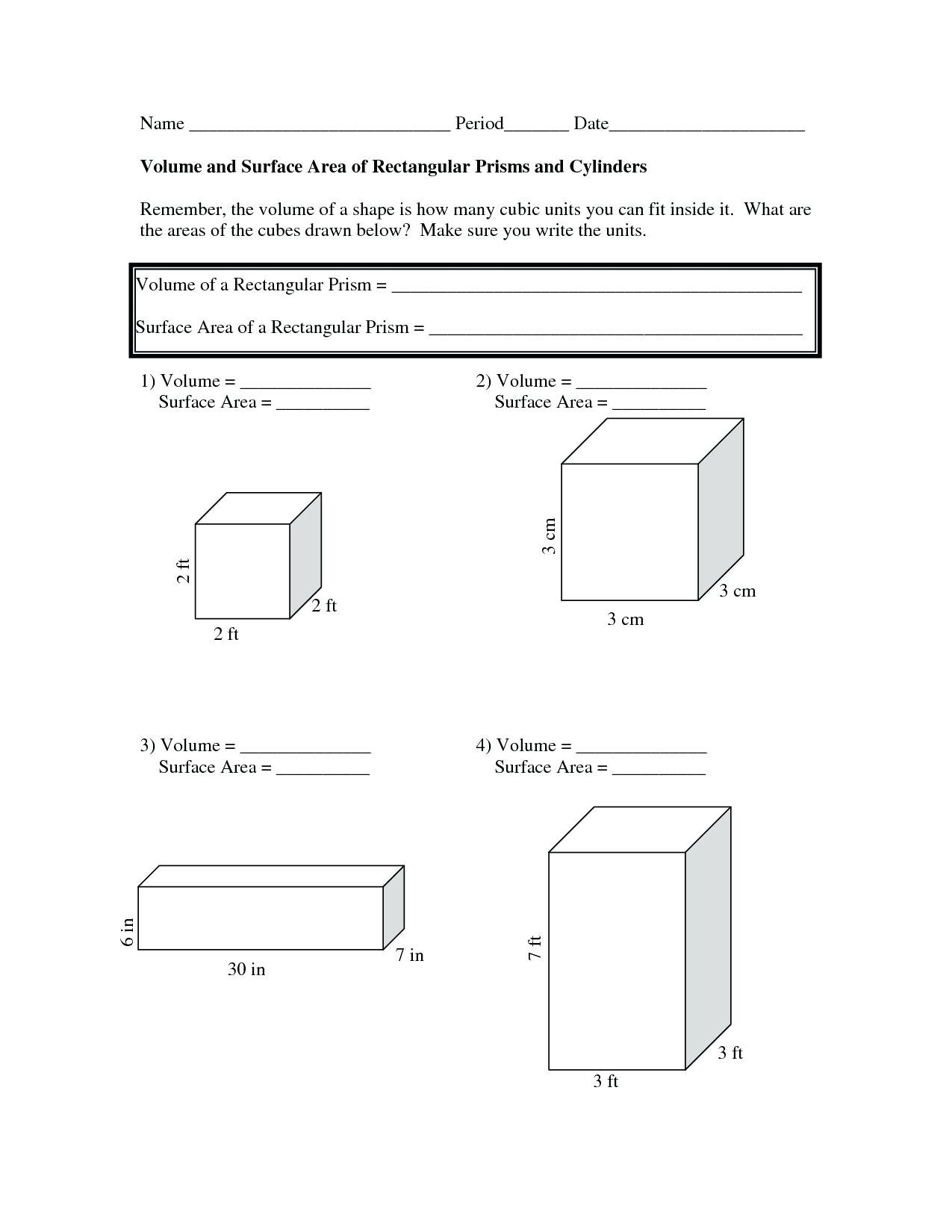 Surface Area Net Worksheet Matching Rectangular Prisms To Their Nets For Surface Area Worksheet Pdf