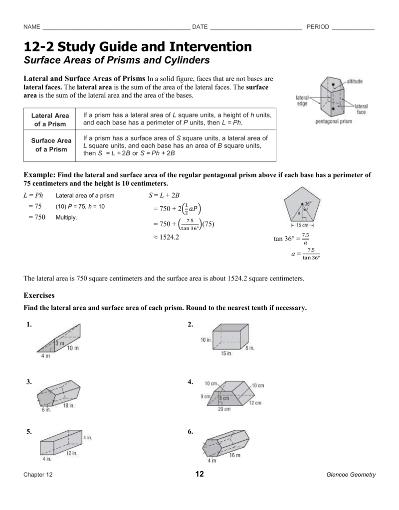 Surface Areas Of Prisms And Cylinders Also 11 2 Surface Areas Of Prisms And Cylinders Worksheet Answers