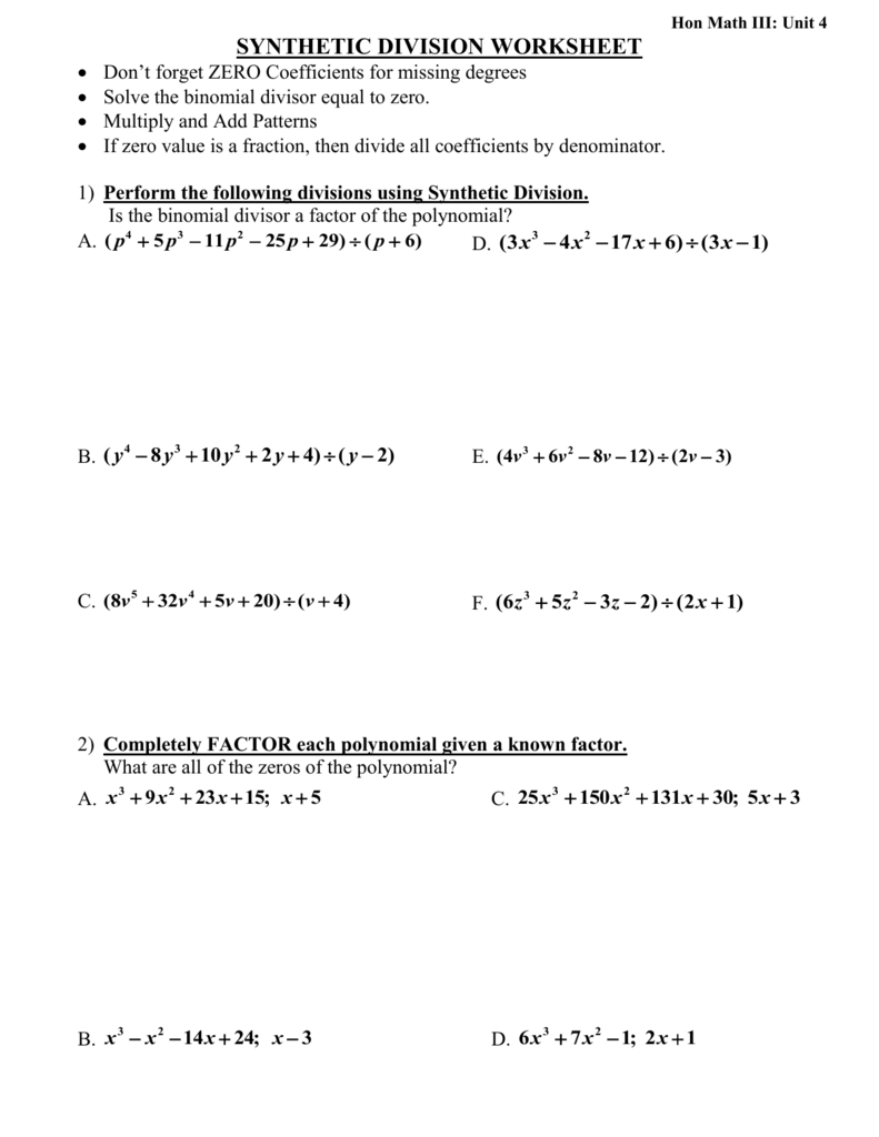 Synthetic Division Worksheetdon Or Synthetic Division Worksheet With Answers