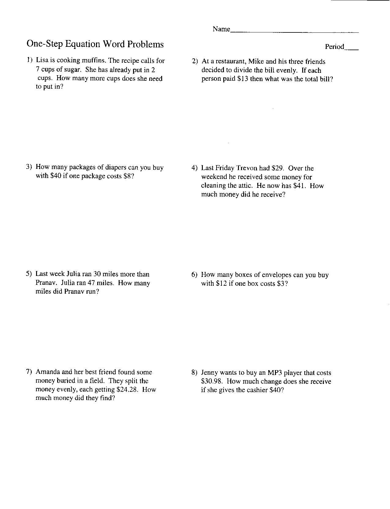 Systems Of Equations Word Problems Worksheet Answers  Yooob Together With Two Step Equations Word Problems Worksheet