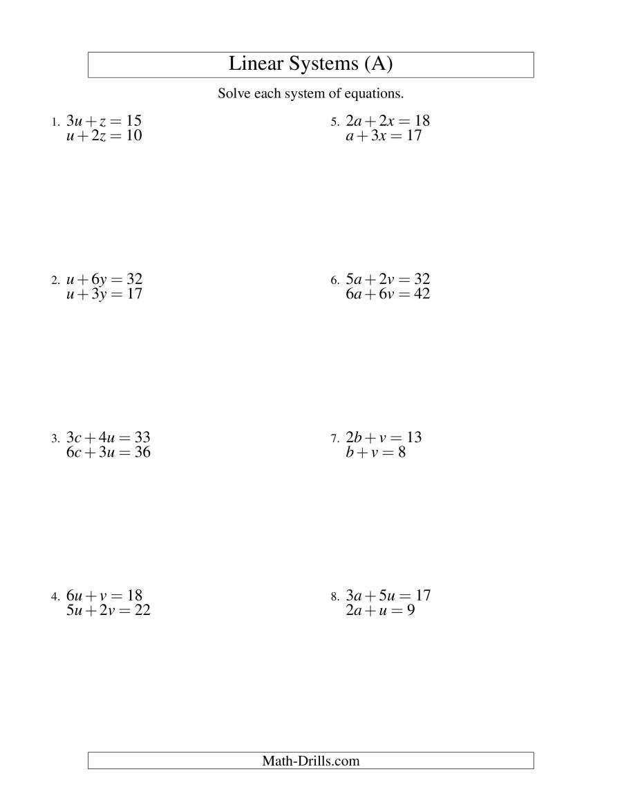 Systems Of Linear Equations  Two Variables A Within Systems Of Linear Equations Worksheet