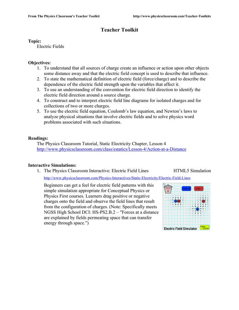 Teacher Toolkit  The Physics Classroom With Physics Classroom Static Electricity Worksheet Answers