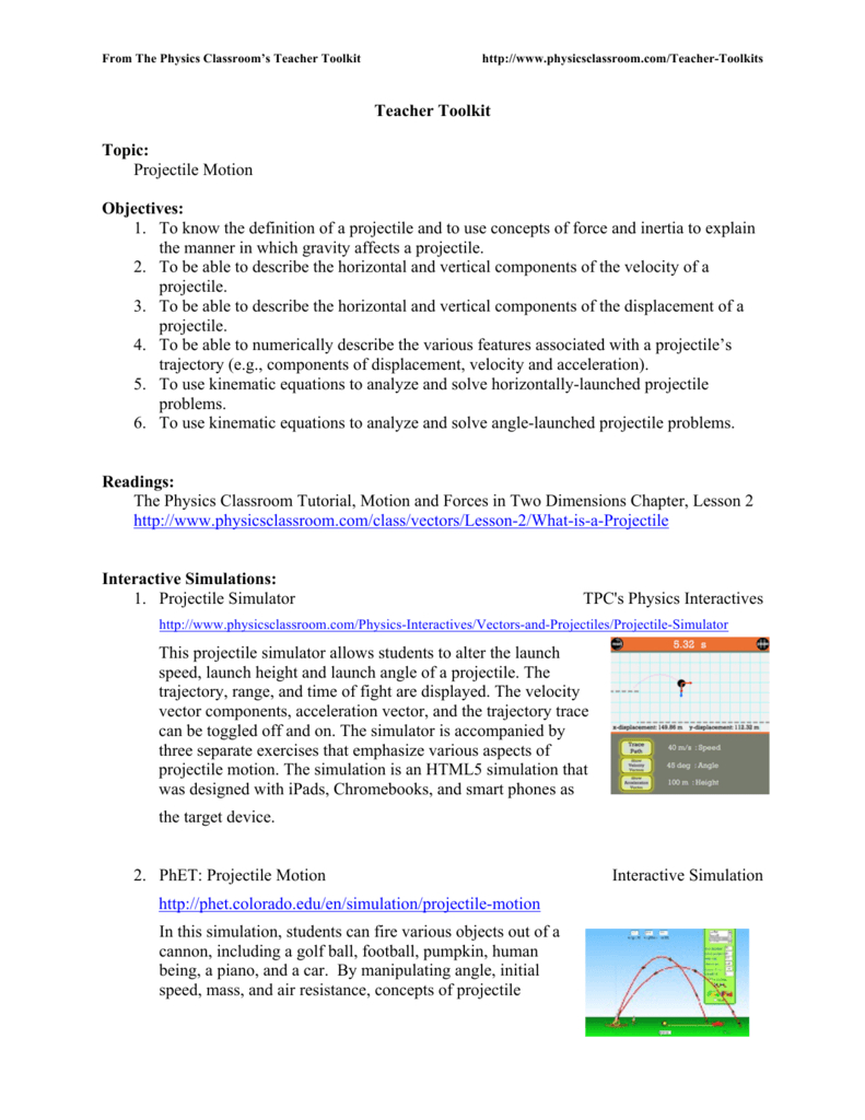 Teacher Toolkit Topic Projectile Motion As Well As Projectile Motion Worksheet Answers The Physics Classroom