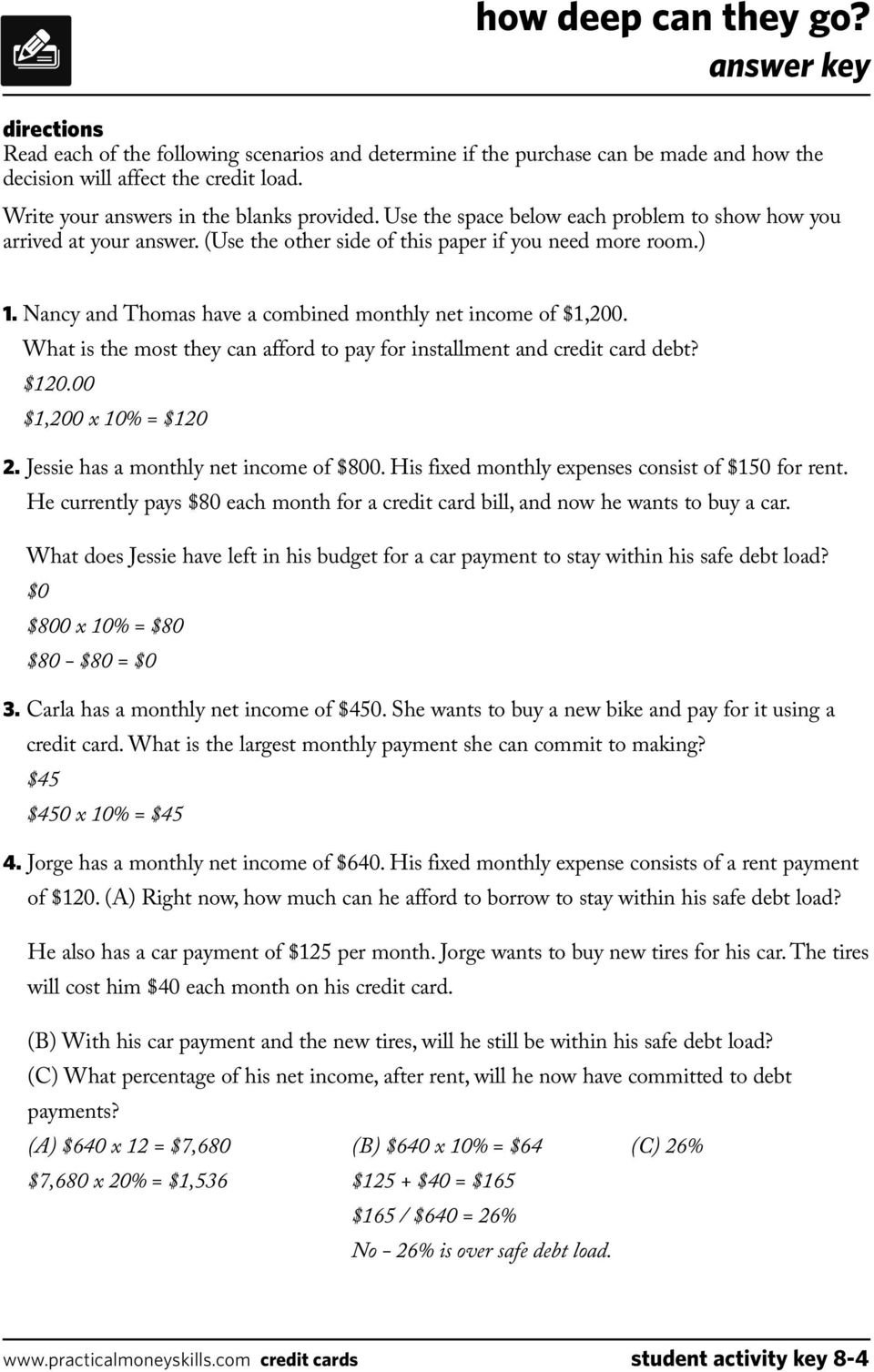 Teacher's Guide Lesson Eight Credit Cards 0409  Pdf In Shopping For Credit Worksheet Answer Key