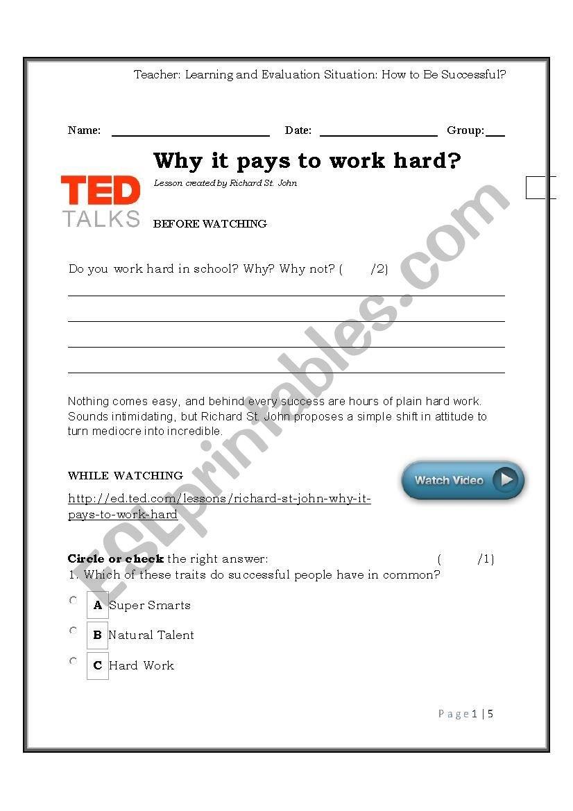 Tedtalk Why It Pays To Work Hard  Esl Worksheetlara2016 Regarding Ted Talk Worksheet Answers