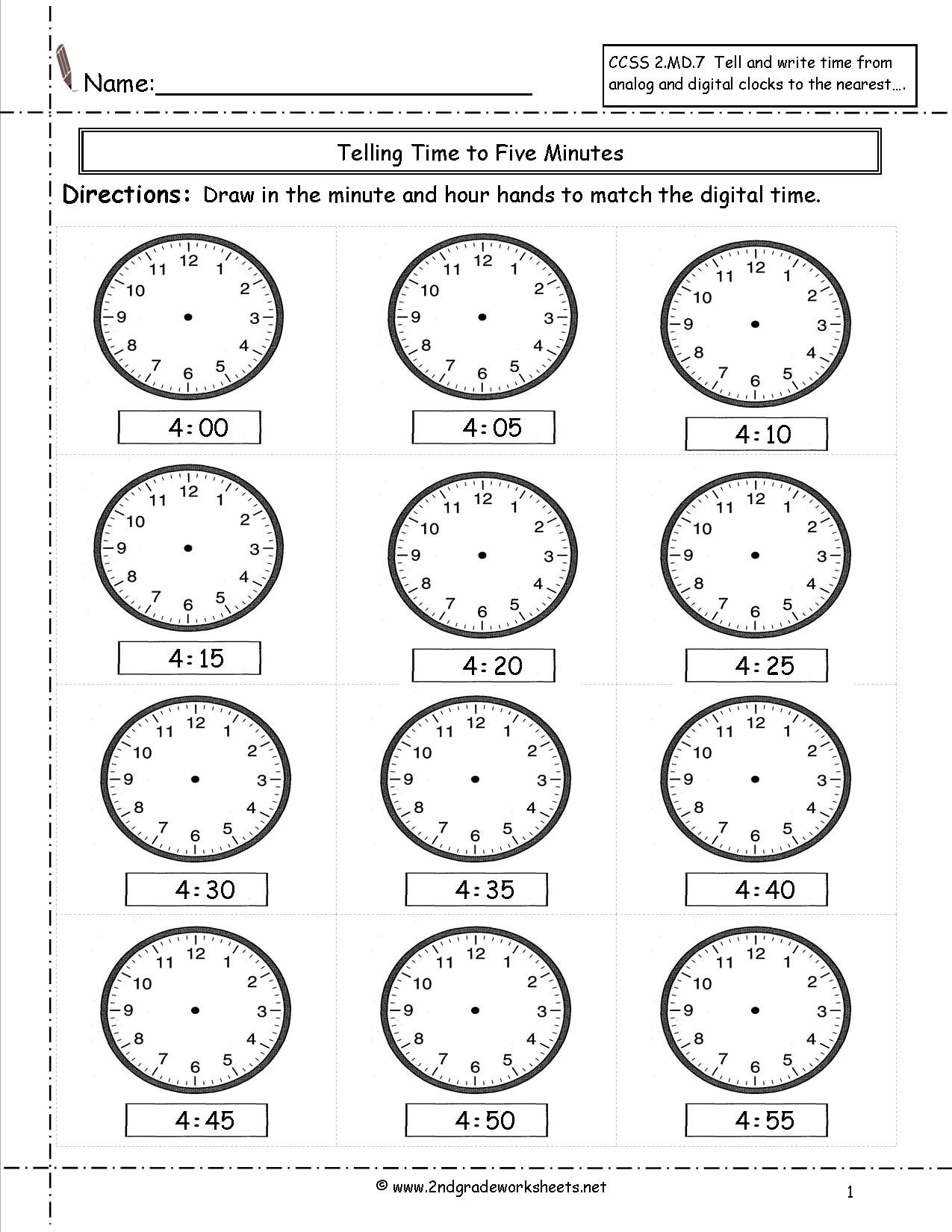 Telling And Writing Time Worksheets Along With Telling Time Worksheets Printable