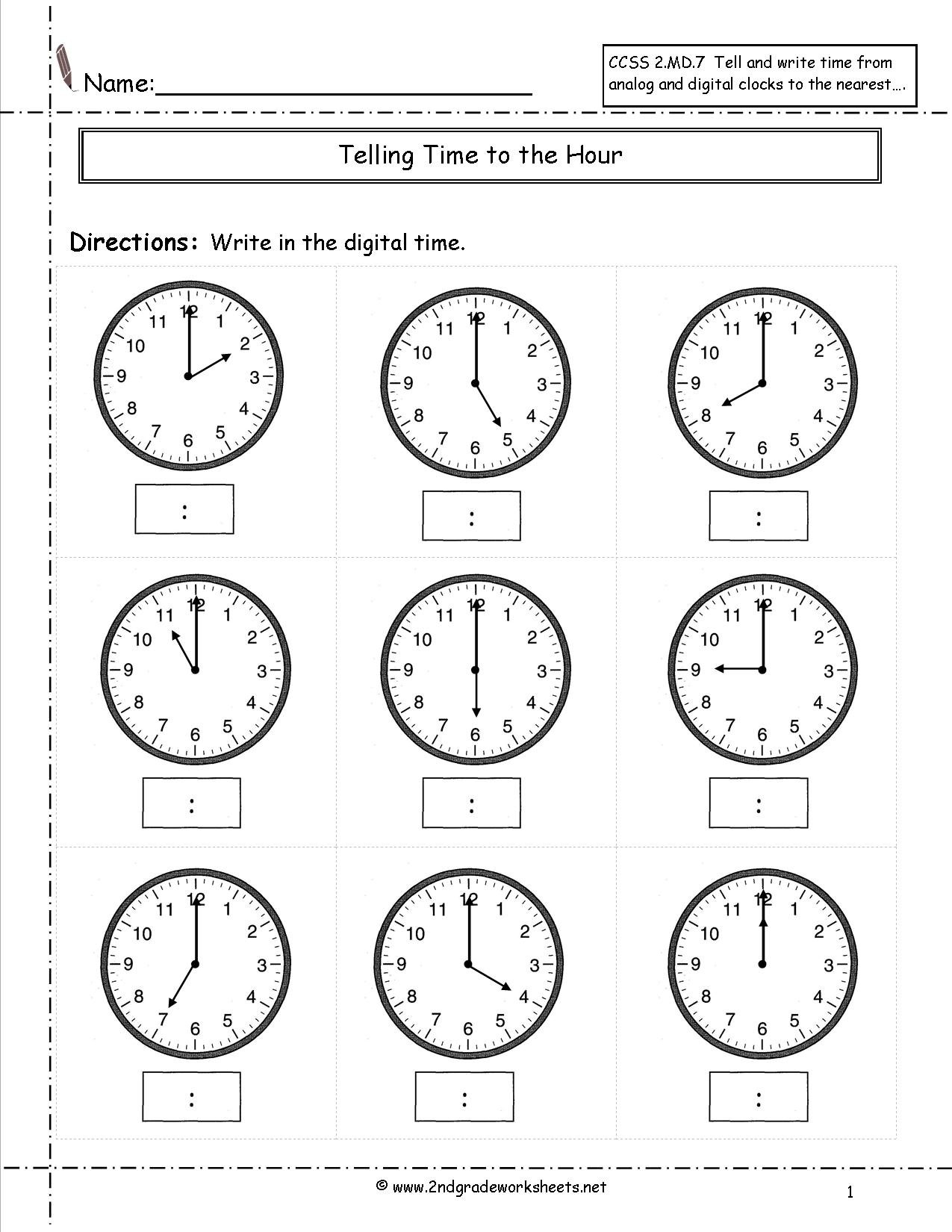 Telling And Writing Time Worksheets Inside Telling Time Worksheets Printable