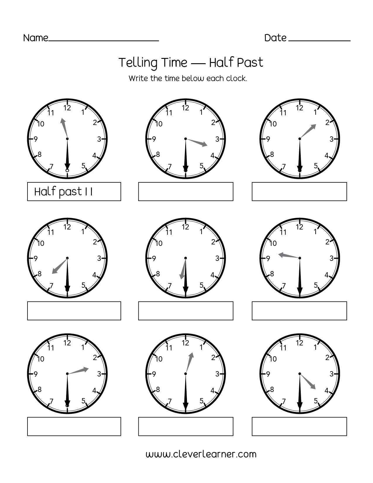 Telling Time Half Past The Hour Worksheets For 1St And 2Nd Graders For Telling Time To The Half Hour Worksheets