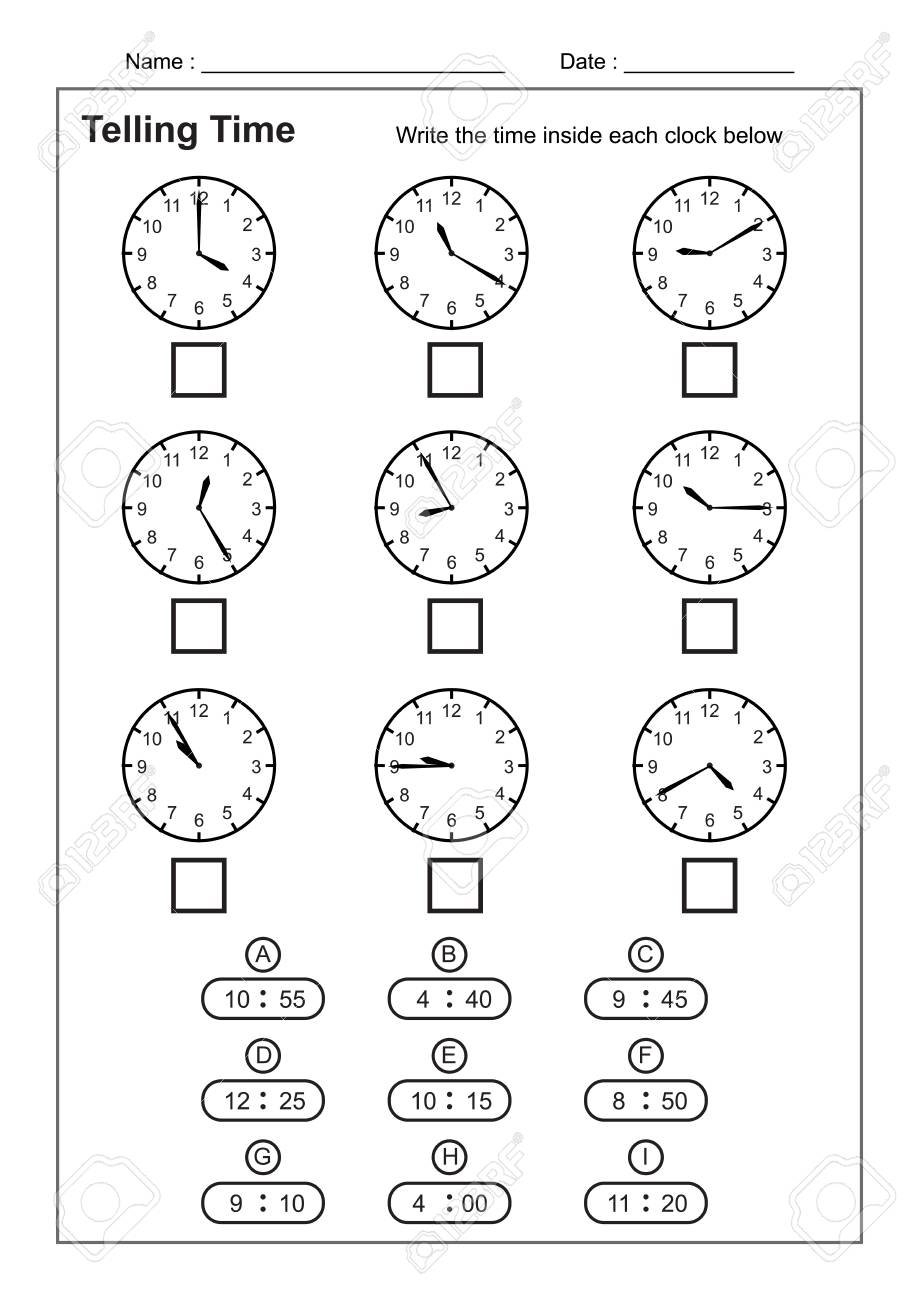 Telling Time Telling The Time Practice For Children Time Worksheets Along With Learning To Tell The Time Worksheets