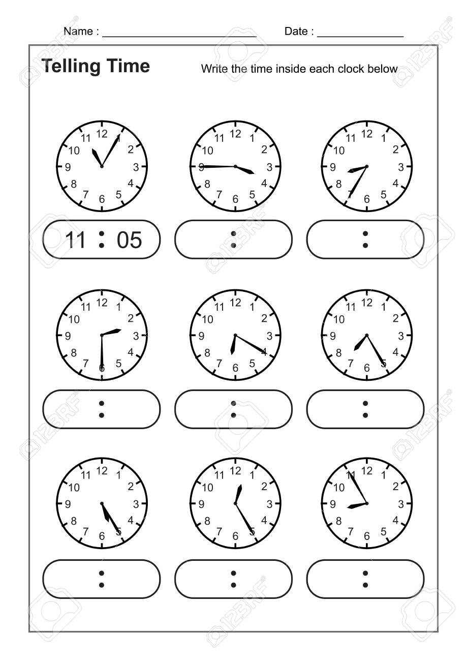 Telling Time Telling The Time Practice For Children Time Worksheets For Learning To Tell The Time Worksheets