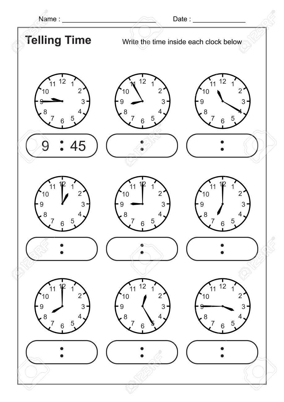 Telling Time Telling The Time Practice For Children Time Worksheets Inside Learning To Tell The Time Worksheets