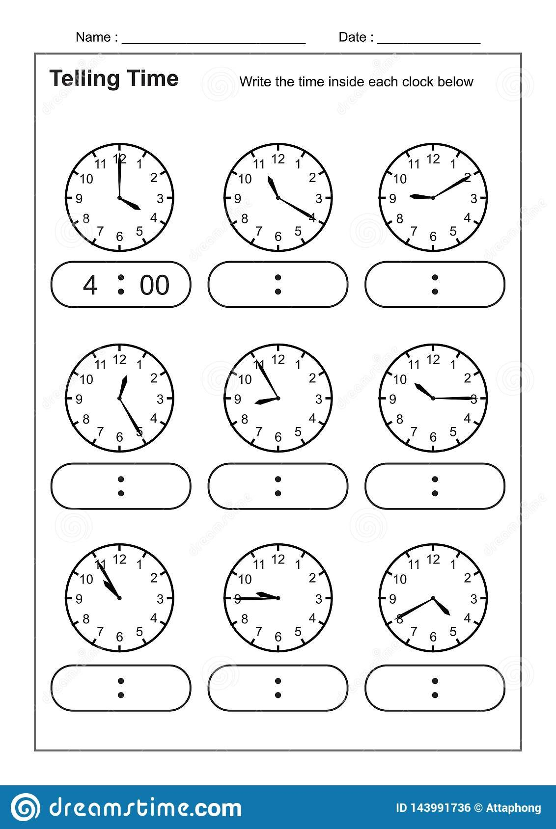 Telling Time Telling The Time Practice For Children Time Worksheets Intended For Learning To Tell The Time Worksheets