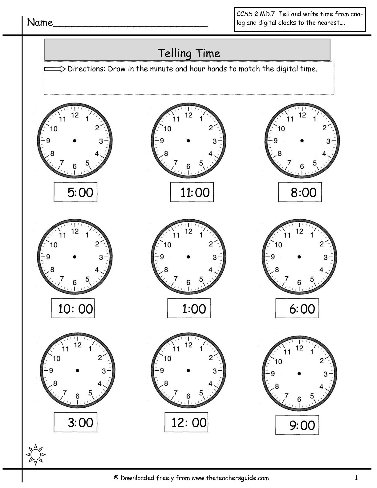 Telling Time Worksheets From The Teacher's Guide And Telling Time Worksheets Printable