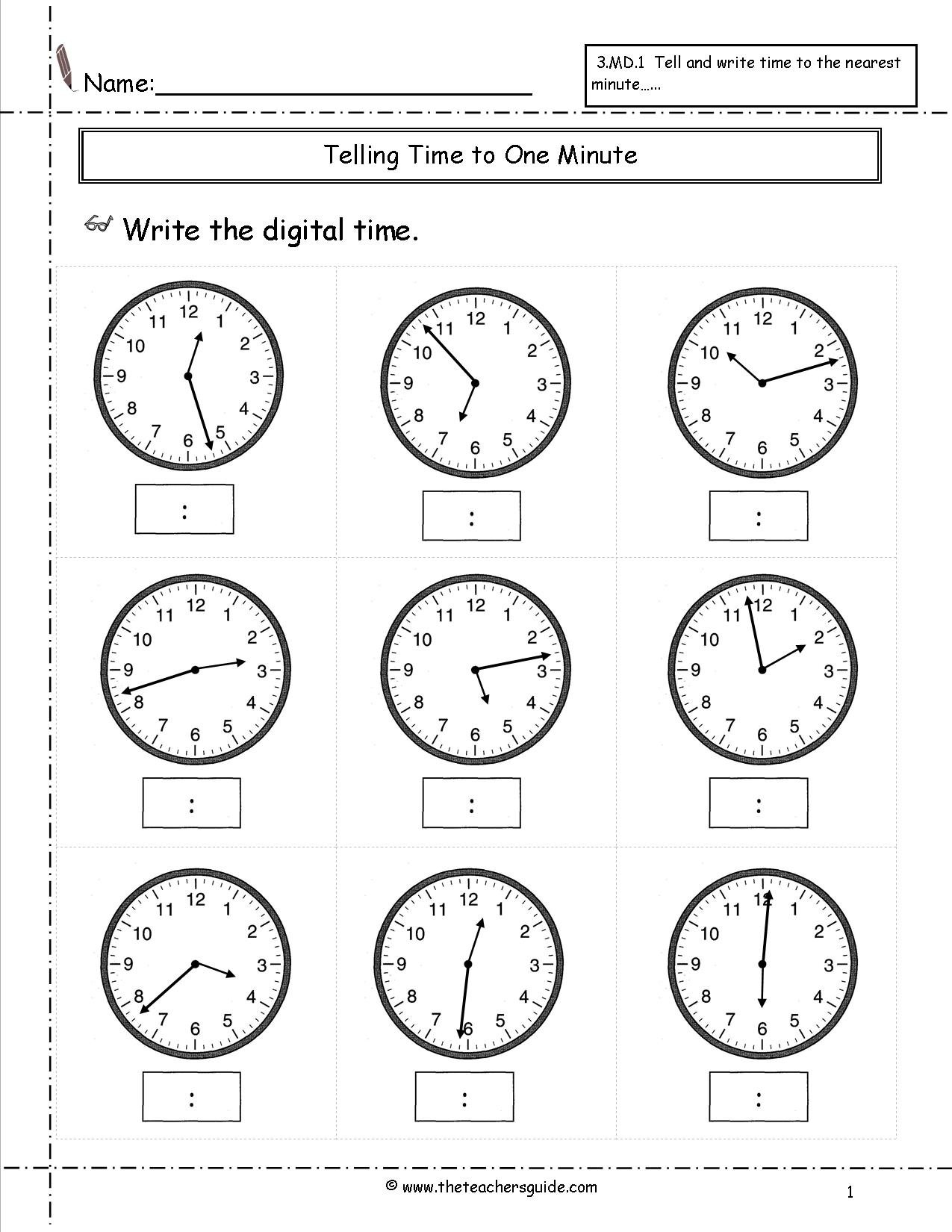 Telling Time Worksheets From The Teacher's Guide Inside Time To The Minute Worksheets