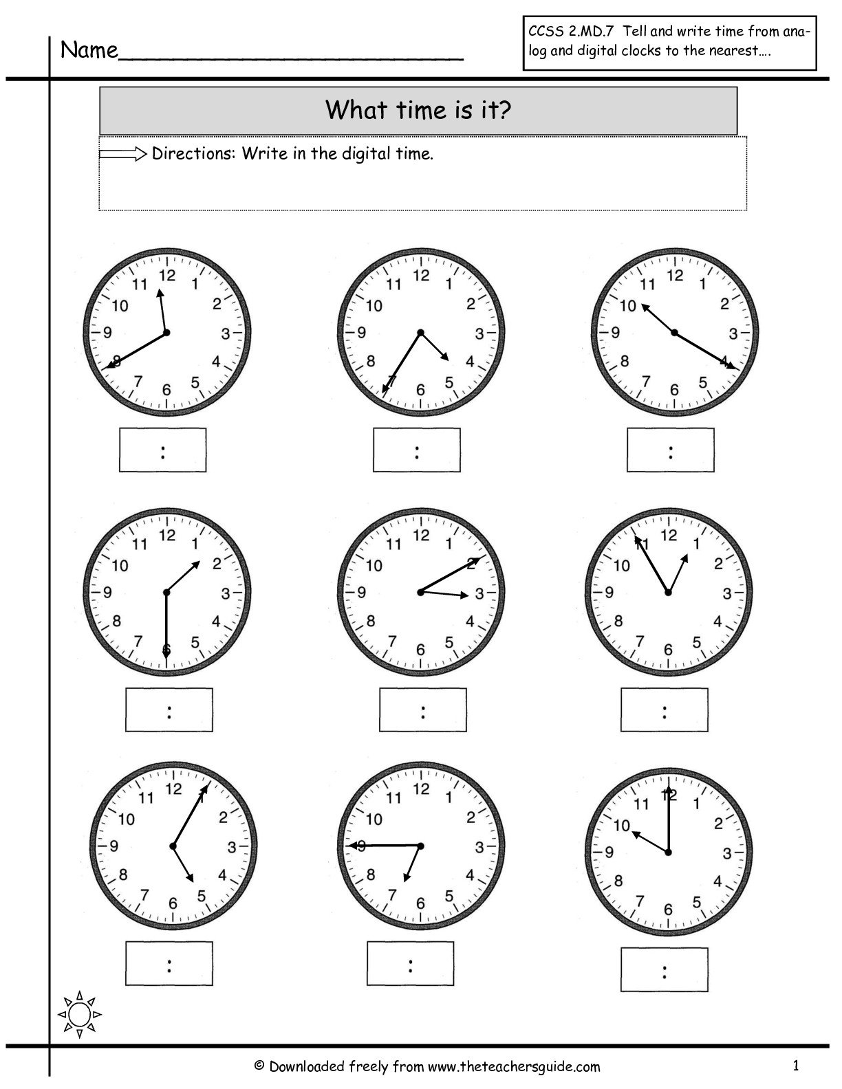 Telling Time Worksheets From The Teacher's Guide Throughout Digital Clock Worksheets