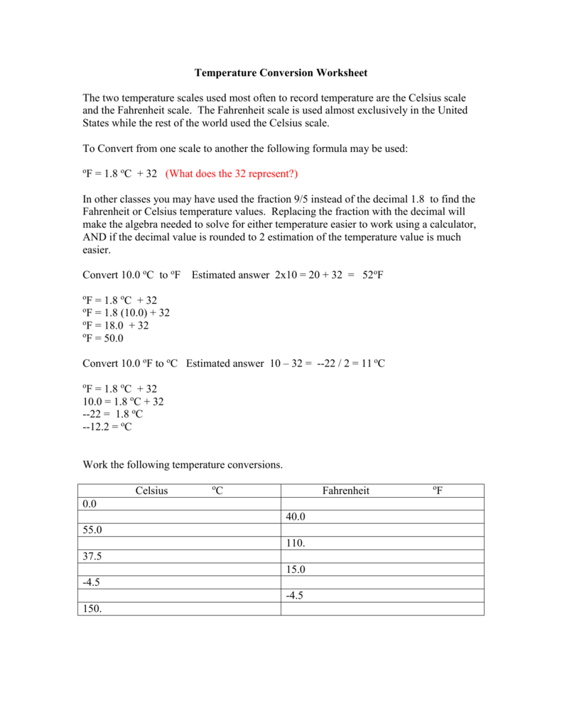 Temperature Conversion Worksheet As Well As Temperature Conversion Worksheet Answers