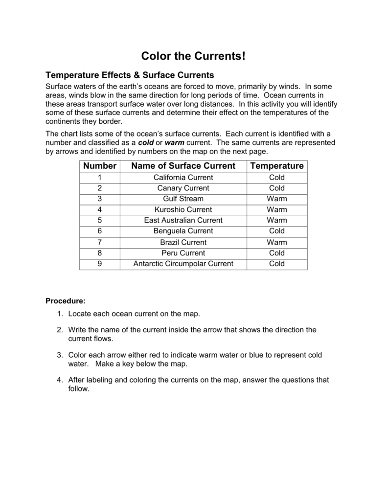 Temperature Effects  Surface Currents In Ocean Current Worksheet Answer Key