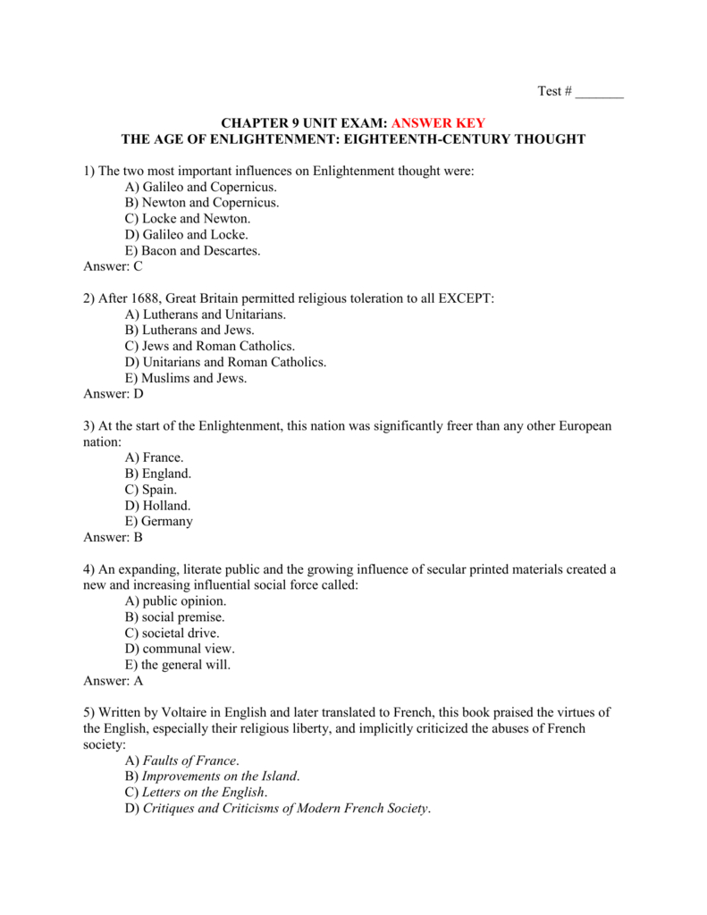 Test   Chapter 9 Unit Exam Answer Key The Age With The Enlightenment Worksheet Answer Key