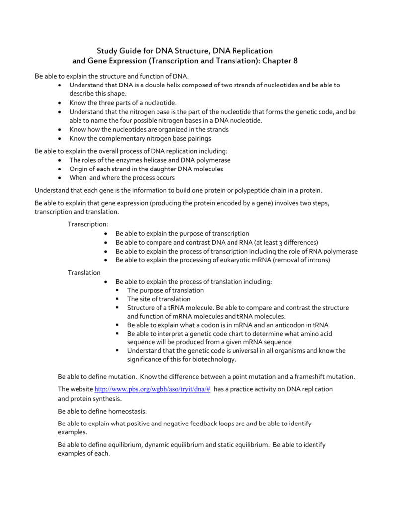 Test Review On Dna Structure Dna Replication With Dna Structure And Replication Review Worksheet