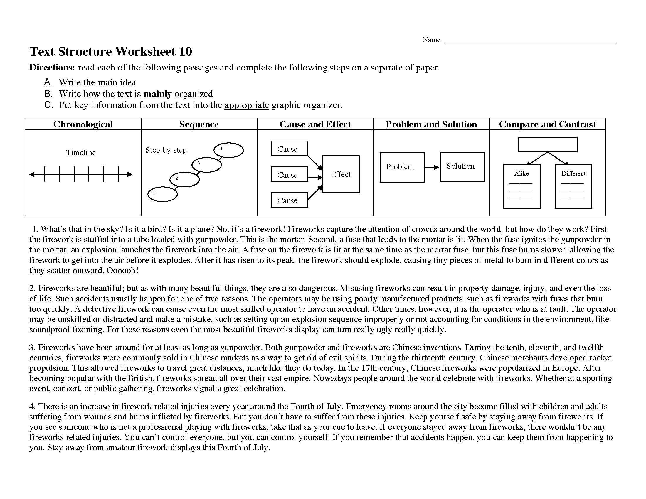 Text Structure Worksheet 10  Preview With Text Structure Worksheet Pdf
