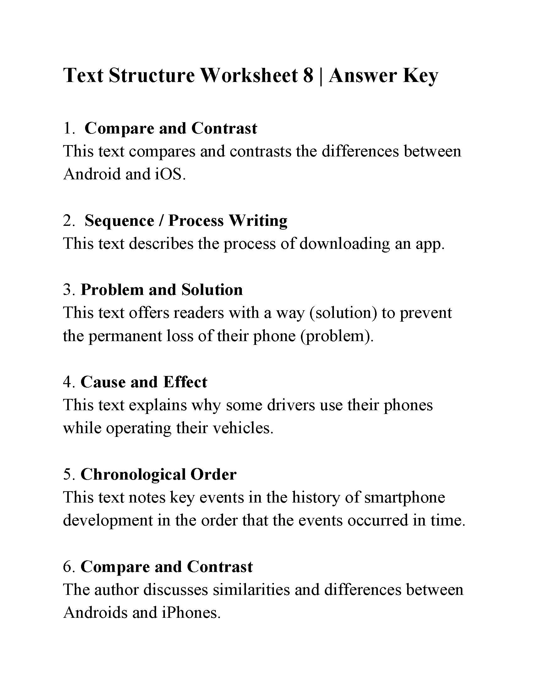 Text Structure Worksheet 8  Answers And Text Structure Worksheet Pdf