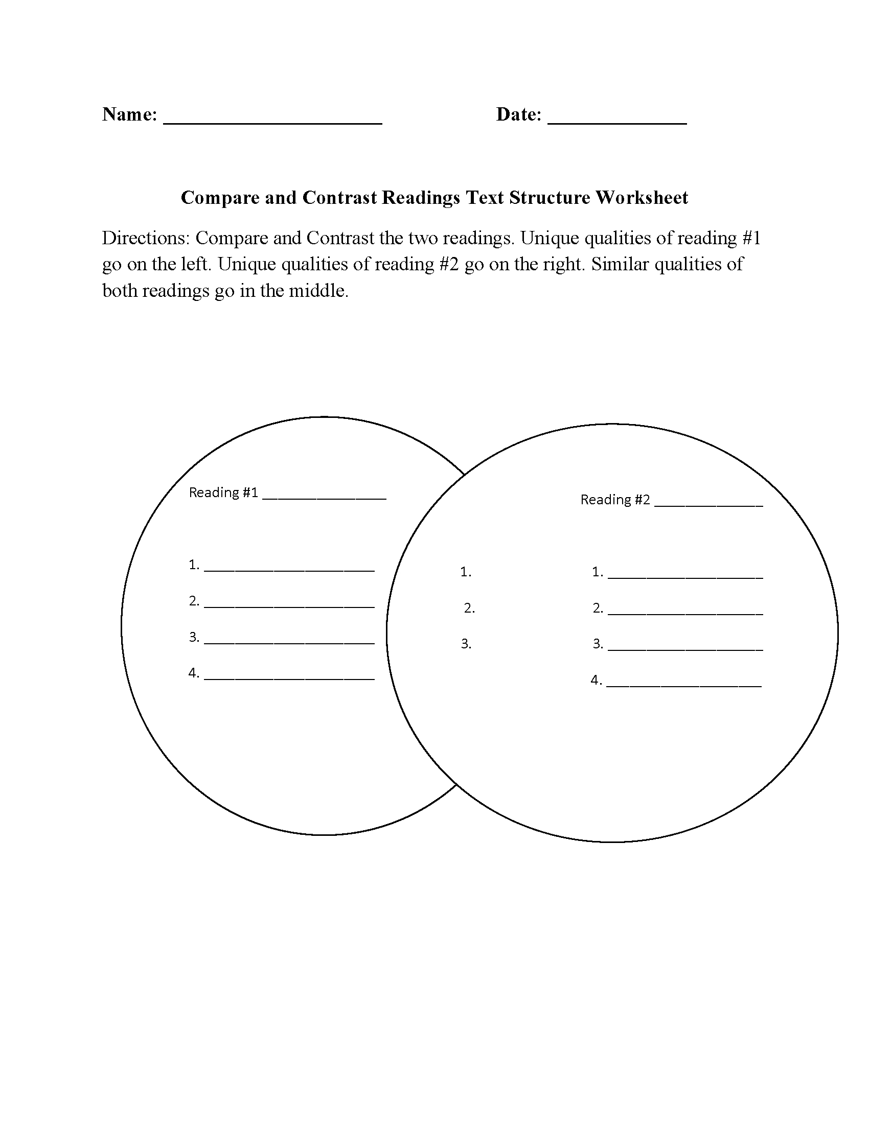 Text Structure Worksheets  Compare And Contrast Readings Text Within Compare And Contrast Worksheets 2Nd Grade