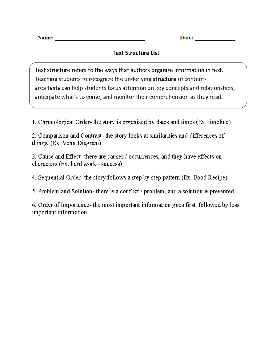 Text Structure Worksheets  Text Structure List Worksheets Throughout Text Structure Worksheets 3Rd Grade