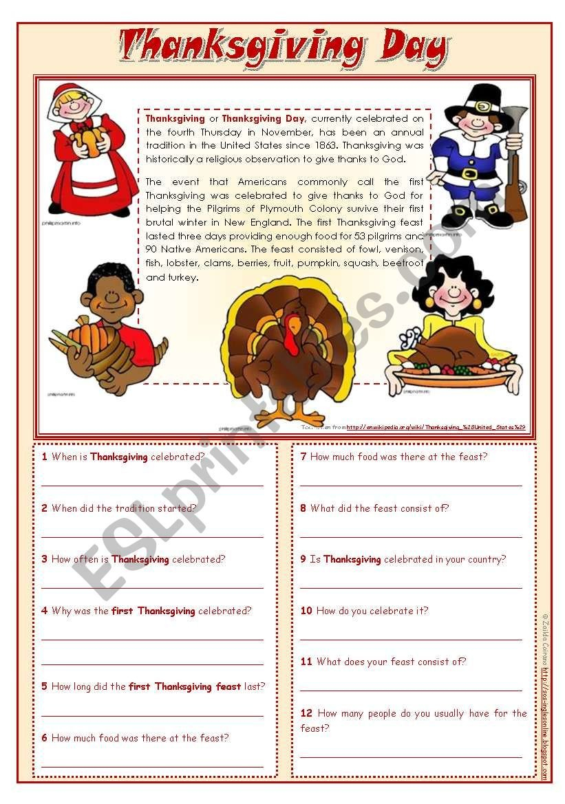 Thanksgiving Day  Reading Comprehension Editable  Esl Worksheet And Thanksgiving Day Worksheets