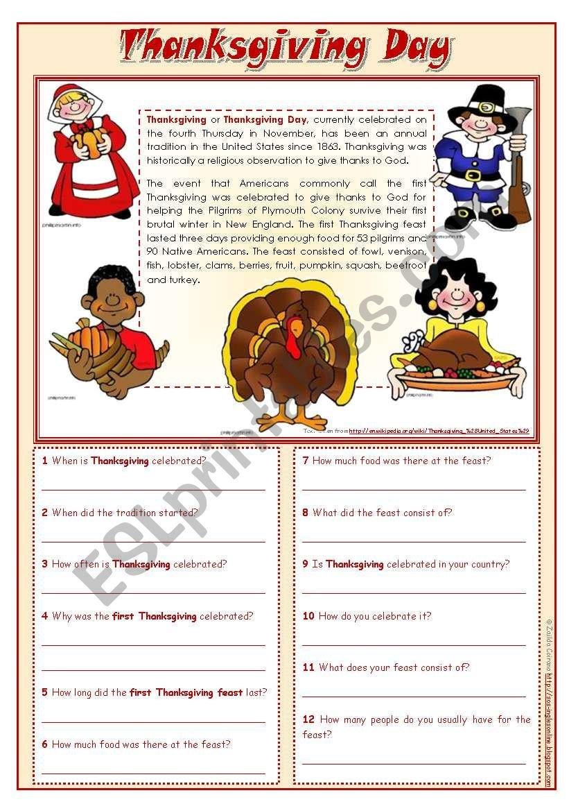 Thanksgiving Day  Reading Comprehension Editable  Esl Worksheet In November Reading Comprehension Worksheets