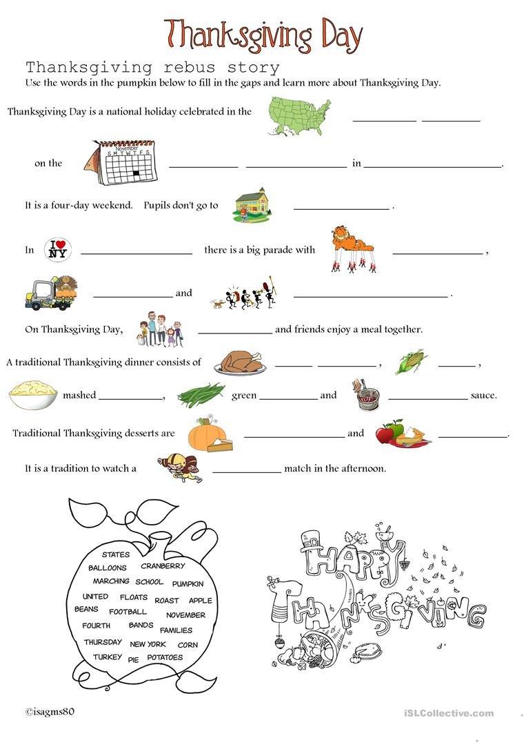 Thanksgiving Day Worksheet  Free Esl Printable Worksheets Made And Thanksgiving Day Worksheets