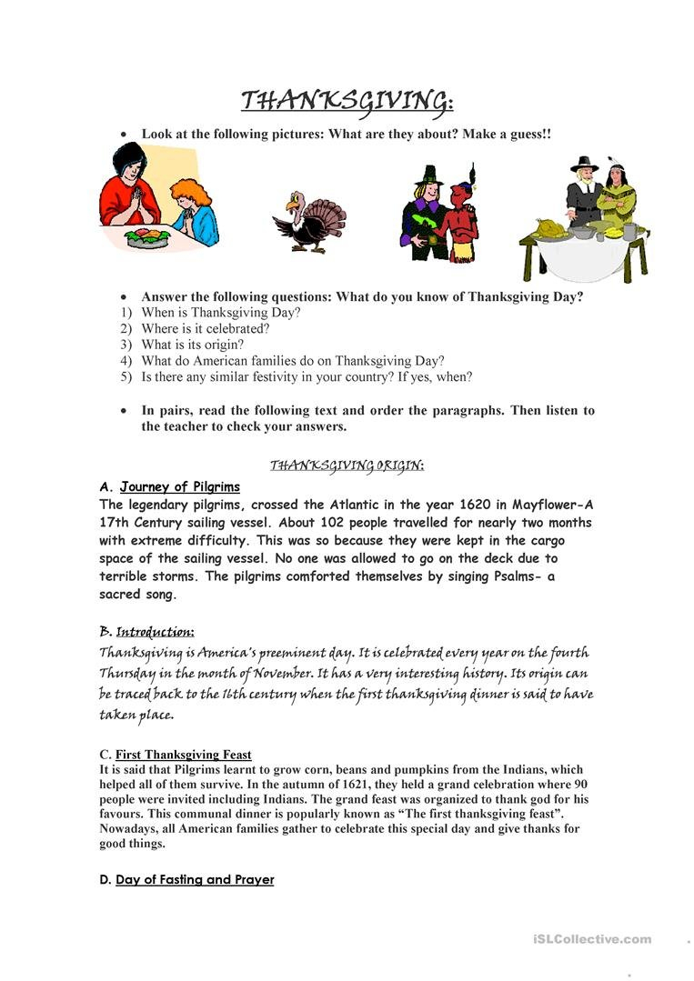Thanksgiving Day Worksheet  Free Esl Printable Worksheets Made Or Thanksgiving Day Worksheets