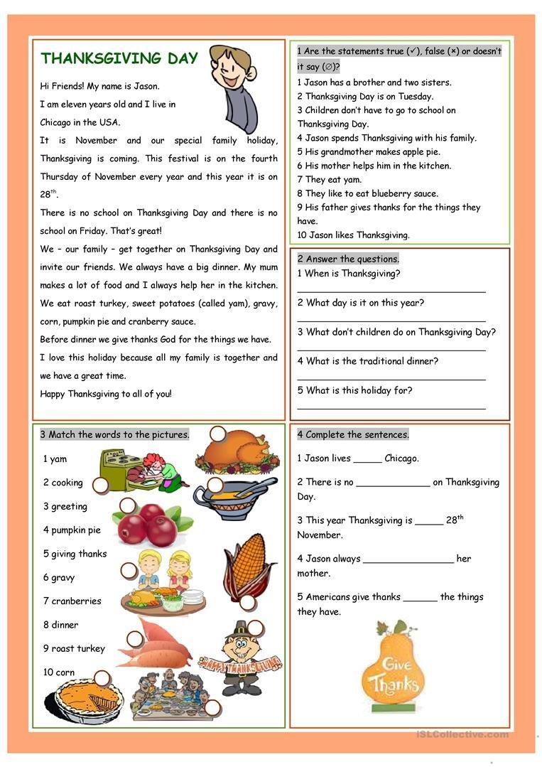 Thanksgiving Day Worksheet  Free Esl Printable Worksheets Made Within Thanksgiving Day Worksheets
