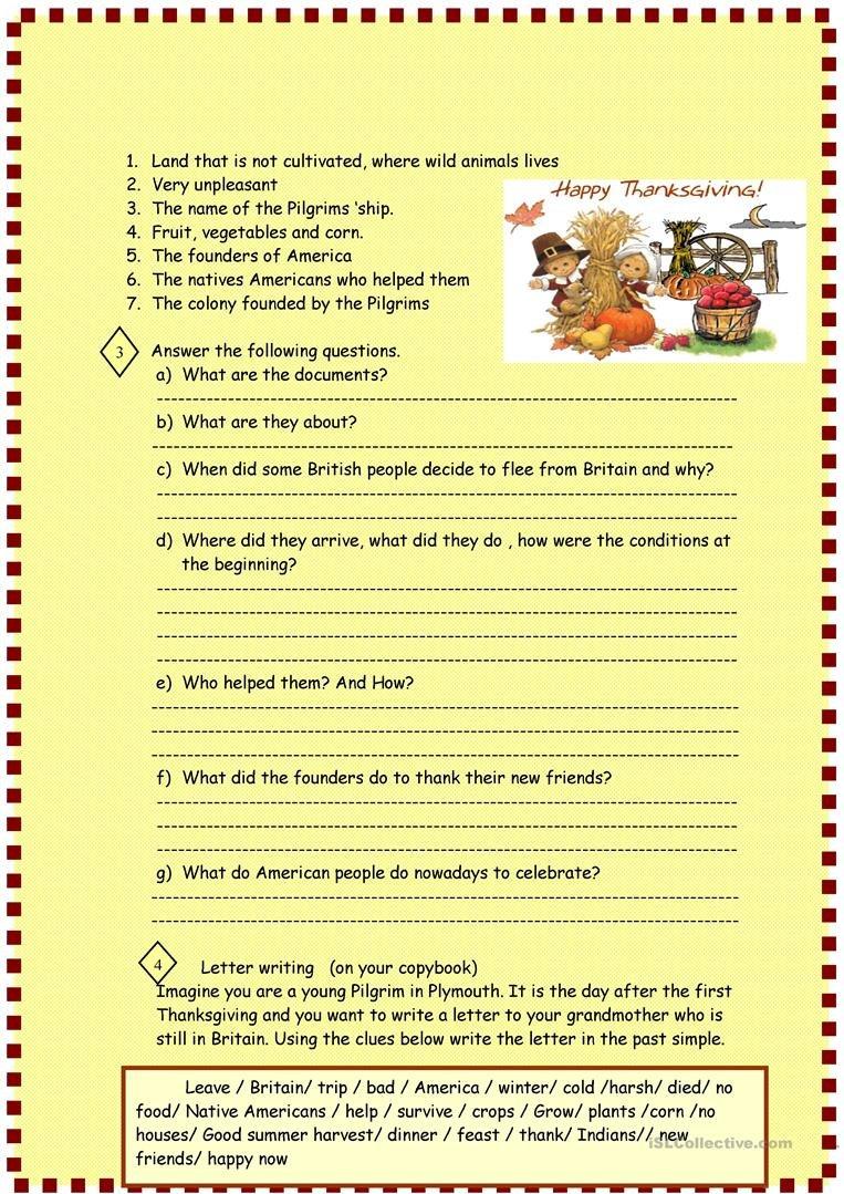 Thanksgiving  Reading For Pre Intermediate Worksheet  Free Esl Together With Pilgrims Reading Comprehension Worksheet