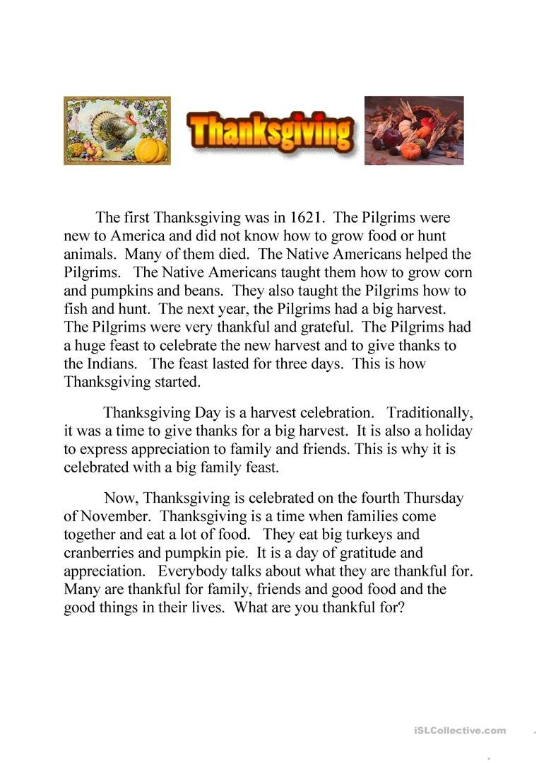 Thanksgiving Text And Quiz Running Dictation Worksheet  Free Esl Throughout November Reading Comprehension Worksheets