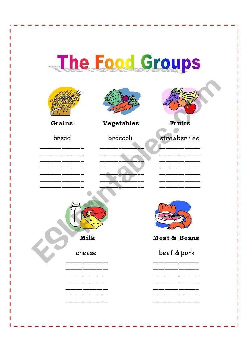 The 5 Food Groups  Esl Worksheetnalawood Inside Food Groups Worksheets