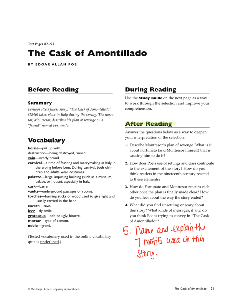 The Cask Of Amontillado Along With The Cask Of Amontillado Vocabulary Worksheet Answers