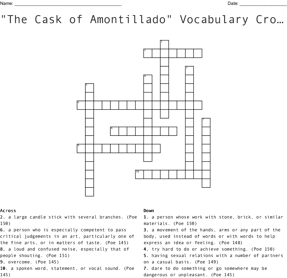 "The Cask Of Amontillado"" Vocabulary Crossword Puzzle Assignment Throughout The Cask Of Amontillado Vocabulary Worksheet Answers"