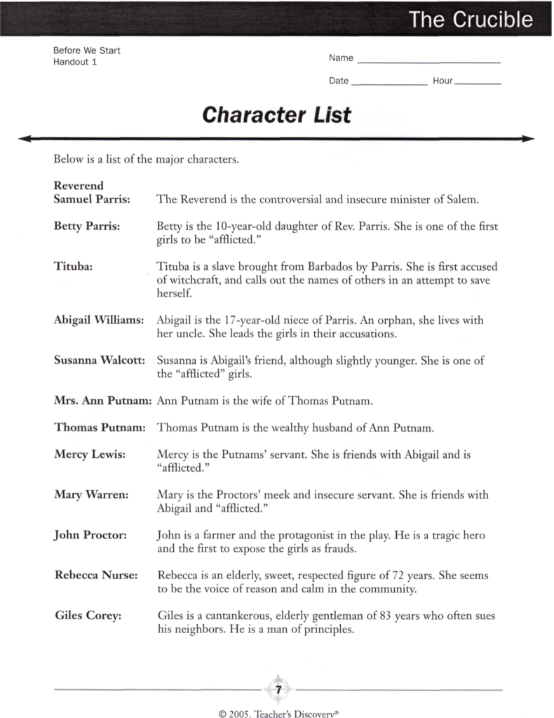 The Crucible Character List As Well As The Crucible Character Analysis Worksheet Answers