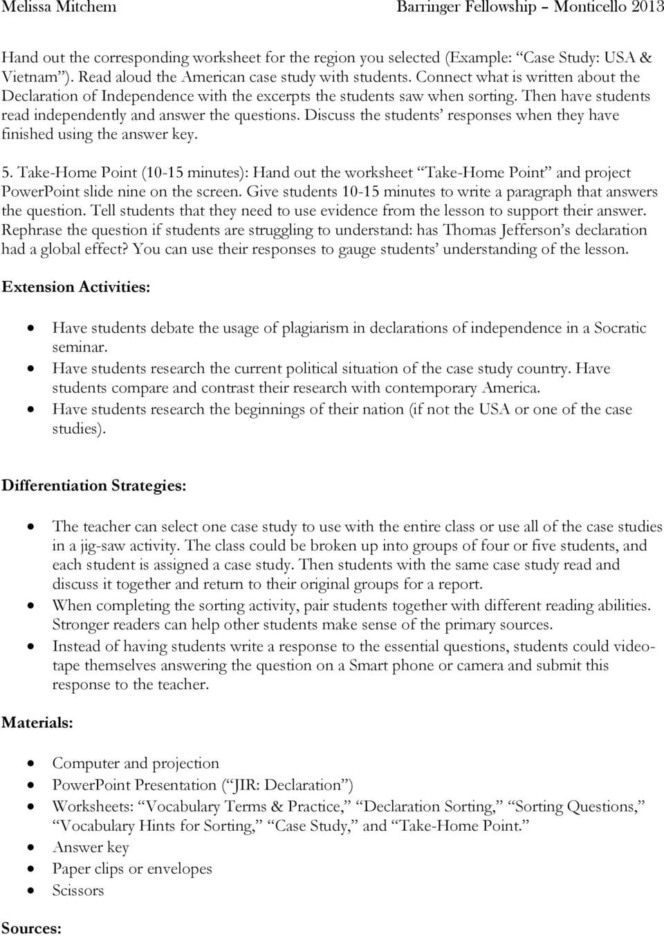 The Declaration Of Independence  Pdf Pertaining To Declaration Of Independence Worksheet Answer Key