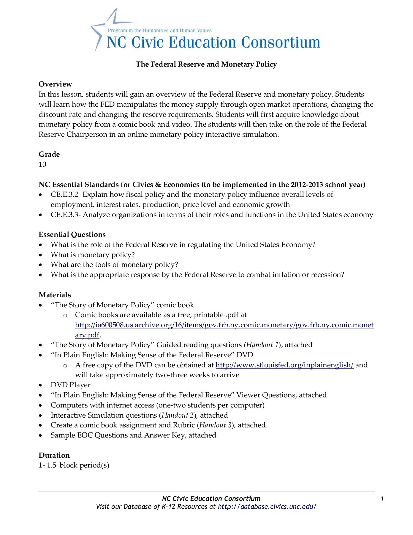The Federal Reserve And Monetary Policy Grade Pages 1  11  Text Intended For Tools Of The Federal Reserve Worksheet Answer Key